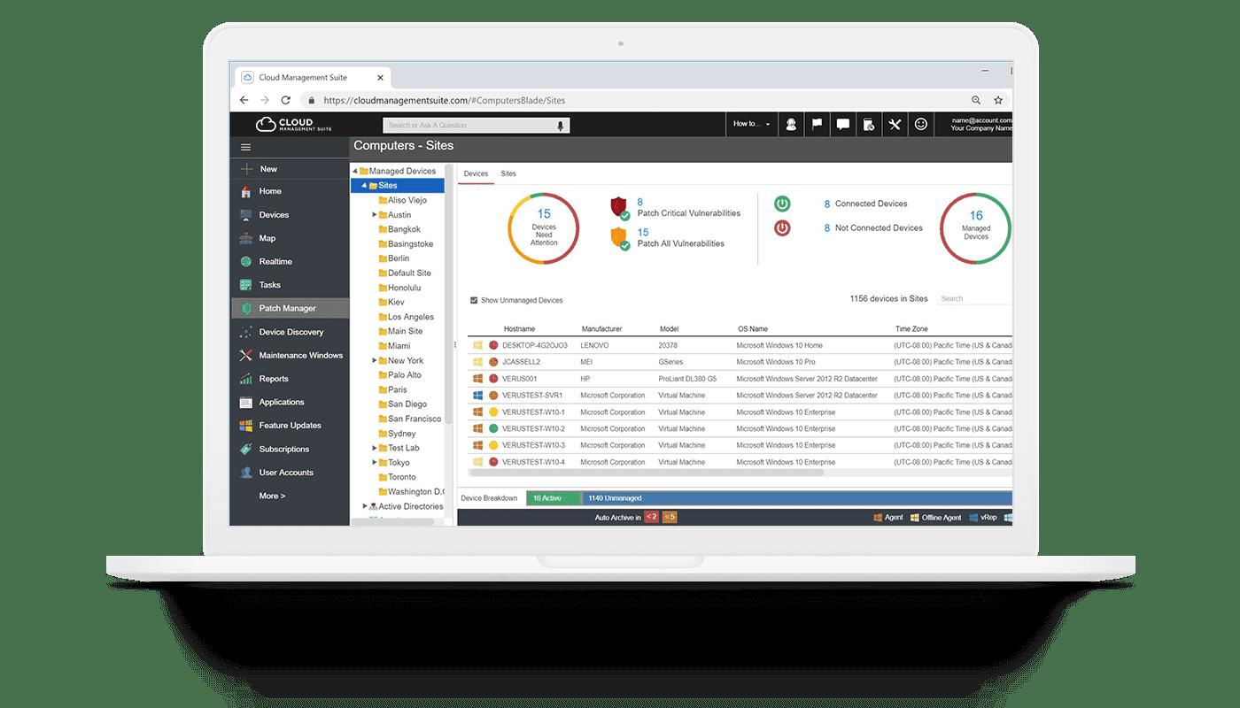 Syxsense's patch management on a laptop