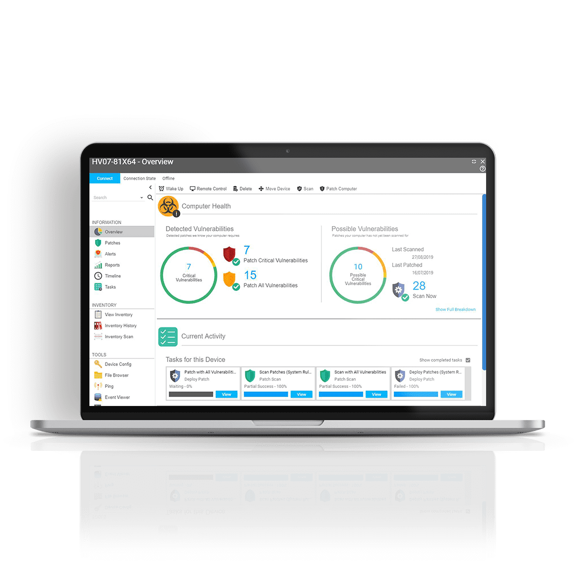 Syxsense's endpoint security solution on a laptop